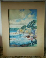 J Watson Davis Watercolor Point Lobos CA 1950s Zane Grey Illustrator