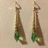 NEW ART DECO STYLE VINTAGE GOLD BRASS FILIGREE LONG GREEN DROP EARRINGS hook