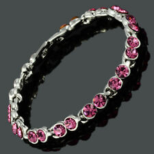 Women Round Crystal Pink Sapphire White Gold GP Tennis Bracelet (Extended Clasp)