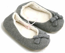 GIRLS SPARKLE PRINCESS FEET COSY SILVER SLIPPERS UK SIZE 2-3 AGE 7-10