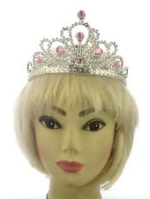 Light Pink And Silver Crown Tiara With Grippers Fancy Dress Kids