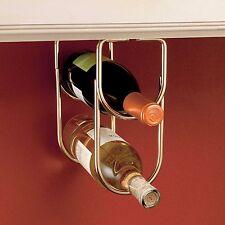 Brass 2 Bottle Holder Liquor Rack Storage Home Kitchen Cabinet Decor Display