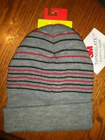 Tek Gear Knit Watch Hat, Grey w/Stripes, NWT, Warm Tek, Thinsulate