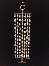 Ralph Lauren Multi-Row Fresh Water Pearl Crystal Toggle Bracelet with Gift Pouch