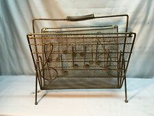 Vintage Mid Century Modern Atomic Magazine Rack Gold Metal Wire Musical Note