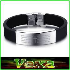316L Black Silicone Bracelet Prayer Our Father in Latin Bible Wristband UK BR35