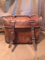 Vintage Leather Buckled Carriers (Set Of 2)