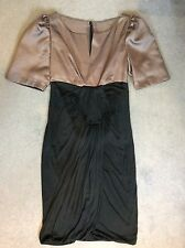 BLACK & MOCHA COLOURED EVENING DRESS WITH PUFFED ELBOW SLEEVES - SIZE 10/12