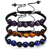 Yoga Reiki Prayer 7 Chakra Healing Balance Beaded Bracelet Braided Stone