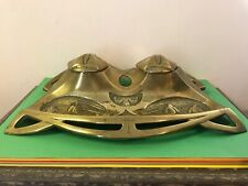 More details for superb art nouveau brass double inkwell and desk stand, c.1900