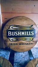 BUSHMILLS IRISH  whisky  malt whisky plaque wooden sign  mancave shed bar pub