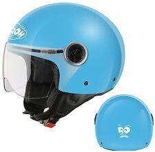 CASCO HELMETS MOTO JET AIROH FREE JUNIOR TG XS 53-54 BAMBINO AZZURRO BLUE GLOSS