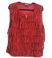 Berek Red Fringed Suede Vest Size XL Leather Zip Front