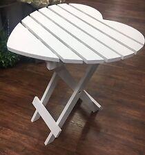 Vintage Shabby Chic White Slated Wood HEART Folding table NEW Garden Girls Room
