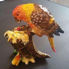 Bejeweled Pewter Bird (Parrot) on Cornucopia Trinket Box with Swarovski Crystals