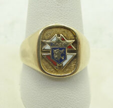Very Nice 10K Yellow Gold Enamel Knights of Columbus Ring Size 10.5 D332