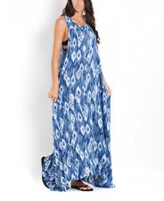 PILYQ WOMEN'S BLUE SLEEVELESS ATLANTIS TULUM LOUNGE BEACH LONG DRESS Sz M/L