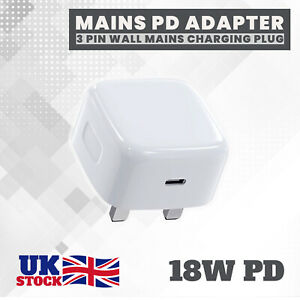 UK Plug PD 18W USB-C Type C Fast Wall Charger Adapter For iPhone 11 12 Pro X