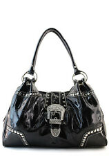 Black Designer Inspired Shinny Belt Rhinestone Western Celebrity Handbag. Purse