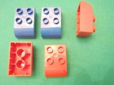 LEGO group DUPLO 5 mattoncini curvi 3 rossi 2 blu rari