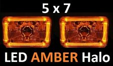 1pr 5x7 6x8 200x142 Semi Sealed H4 Lights Headlights LED Halo Angel Eye AMBER