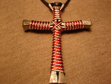 Twisted Silver and  Red Handmade Cross Necklace