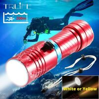 80000LM IPX8 L2 LED Diving Flashlight Waterproof Dive Underwater 200 Meter Torch