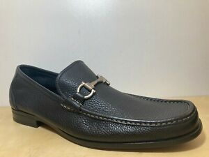 NEW Salvatore Ferragamo Grandioso Black Leather Gancini Loafer Dress Shoe 8.5 D