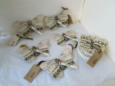 Midwest Cannon Falls Wendy Addison Butterfly Ornament Lot Round Box Typography
