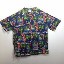 Genuine Hawaiian Aloha Shirt - Hana Fashion - L - Blue with palms flowers canoes