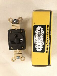 HUBBELL WIRING DEVICE-KELLEMS HBL5461 20A Single Receptacle 250VAC 6-20R BN