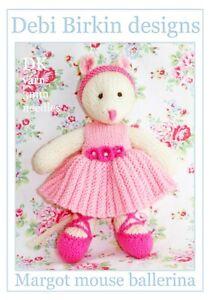 Ballerina Mouse toy knitting pattern -animal rat bunny bear mice