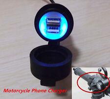 Motorcycle Handbar 12v 3A Dual USB LED Mobile Phone GPS Charger Power Adapter