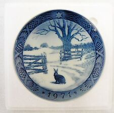 Vintage 1971 Royal Copenhagen Christmas Collector Plate Hare In Winter