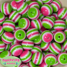 20mm hot pink, lime and white stripe resin bubblegum beads chunky gumball 20 pc