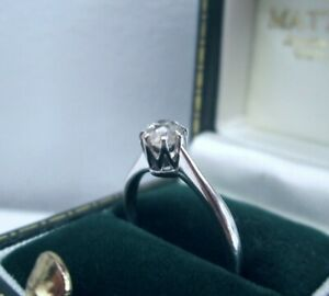 Antique 9ct White Gold .38ct Old Mine Cushion Cut Solitaire Diamond Ring