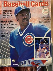 1990 October BASEBALL CARDS MAGAZINE Andre Dawson With 6 UNCUT CARDS