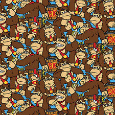 Nintendo Mario Brothers Donkey Kong Allover 100% Cotton fabric by the yard