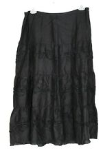 NWOT Liz Claiborne Studio Women's 34 in Waist Black Linen Tiered Midi Skirt