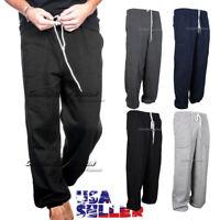 Mens Sweatpants Fleece Jogger Pants Workout Gym Casual Plain Lounge Bottom Women