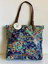 NEW! SAKROOTS ARTIST CIRCLE DENIM SONG BIRD SATCHEL SHOPPER TOTE BAG $79 SALE