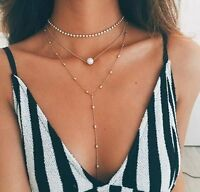 Fashion Charm Crystal Pearl Tassel Pendant Choker Chocker Necklace Women Jewelry