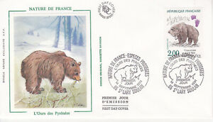 Enveloppe maximum 1er jour FDC Soie 1991 - Protection Nature L'Ours