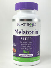 Natrol MELATONIN 5mg 250 Tablets *Sleep Aid, Fast Dissolve Strawberry Flavor*