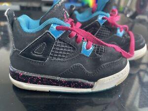 Nike Air Jordan 4 (IV) Black, Pink, Neon Miami Vice For Toddler - 6c