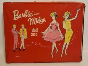 Vintage 1963 Mattel Barbie And Midge Doll Storage Suitcase Case Pink
