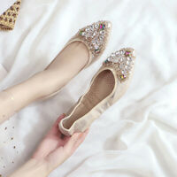 Rhinestone Flat Casual Slip On Loafers Women Pointed Toe Wedding Shallow Shoes