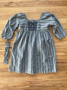 Tea Collection Dress Girls Size 7 Cotton Pattern Blue Embroidered