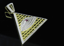 "Yellow Gold Finish Egyptian Pyramid All Seeing Eye Of God Charm Pendant 1.5"""
