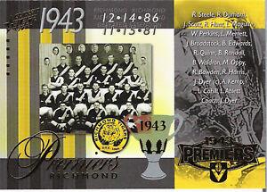 2008 Select AFL Classic VFL Premiership Commemorative Card PC53 Richmond 1943